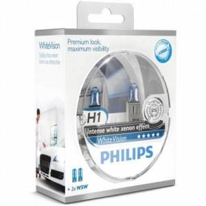 Žiarovky Philips WhiteVision 12V H1 55W P14,5s+W5W - set 2ks