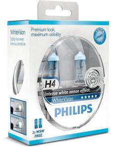 Žiarovky Philips WhiteVision ultra 12V H4 60/55W P43T+W5W - set 2ks